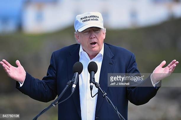 Presumptive Republican nominee for US president Donald Trump gives a press conference on the 9th tee at his Trump Turnberry Resort on June 24 2016 in...
