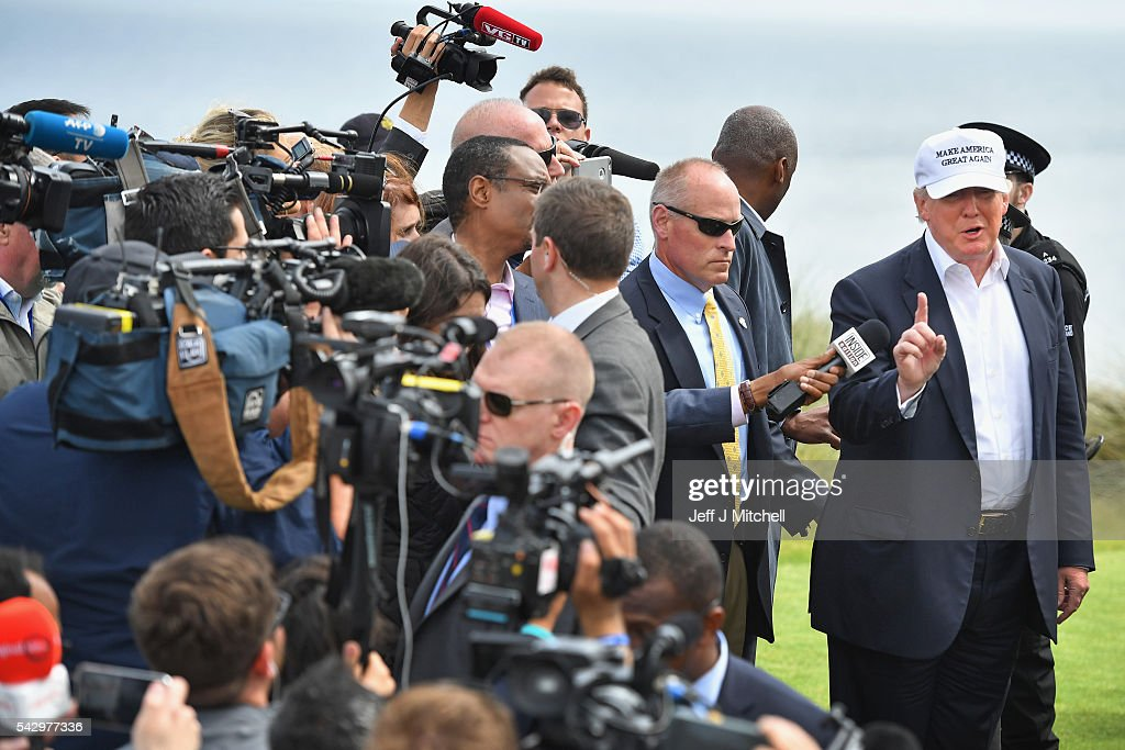 Presumptive Republican nominee for US president Donald Trump, visits Trump International Golf Links on June 25, 2016 in Aberdeen, Scotland. The US presidential hopeful was in Scotland for the reopening of the refurbished Open venue golf resort Trump Turnberry which has undergone an eight month refurbishment as part of an investment thought to be worth in the region of two hundred million pounds.