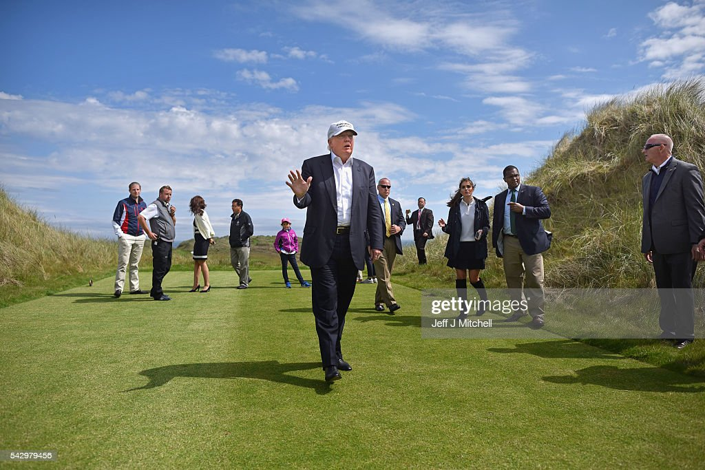Presumptive Republican nominee for US president Donald Trump visits Trump International Golf Links on June 25, 2016 in Aberdeen, Scotland. The US presidential hopeful was in Scotland for the reopening of the refurbished Open venue golf resort Trump Turnberry which has undergone an eight month refurbishment as part of an investment thought to be worth in the region of two hundred million pounds.