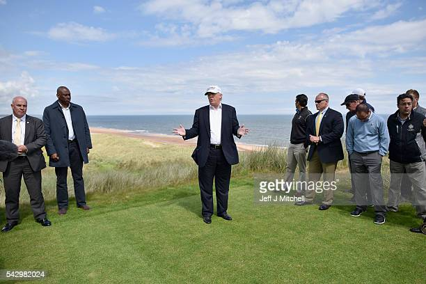 Presumptive Republican nominee for US president Donald Trump visits Trump International Golf Links on June 25 2016 in Aberdeen Scotland The US...