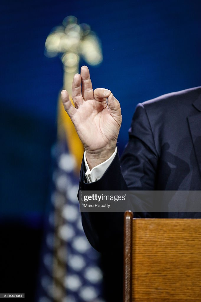 Presumptive Republican presidential candidate Donald Trump gestures as he speaks at the 2016 Western Conservative Summit at the Colorado Convention Center on July 1, 2016 in Denver, Colorado. The Summit, being held July 1-3, is expected to attract more than 4,000 attendees.