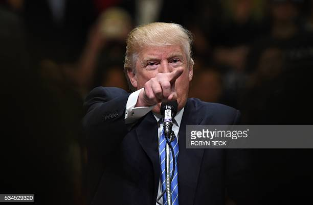 TOPSHOT Presumptive Republican presidential candidate Donald Trump speaks at a campaign rally May 25 2016 in Anaheim California Donald Trump said...