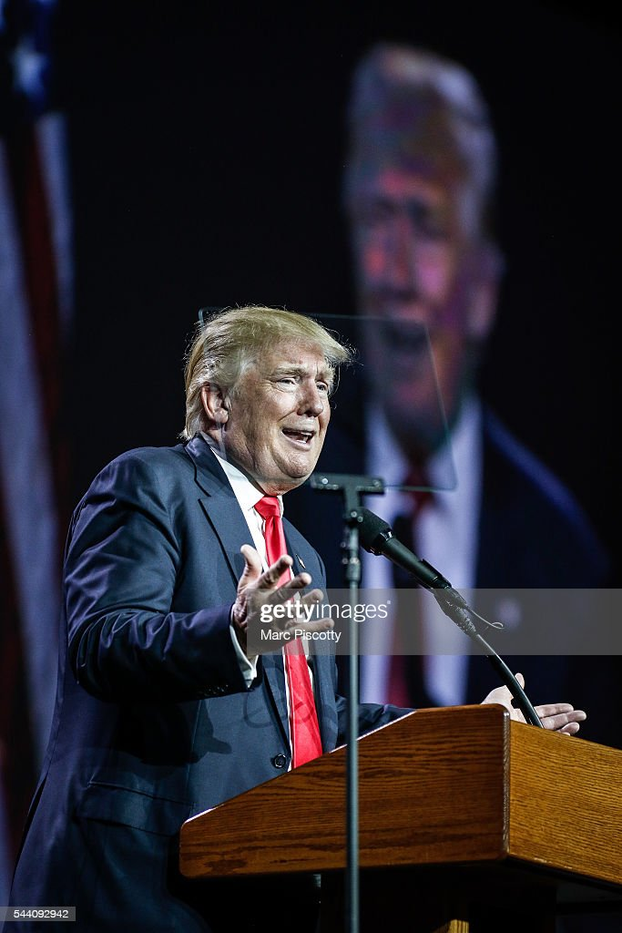 Presumptive Republican presidential candidate <a gi-track='captionPersonalityLinkClicked' href=/galleries/search?phrase=Donald+Trump+-+Born+1946&family=editorial&specificpeople=118600 ng-click='$event.stopPropagation()'>Donald Trump</a> speaks at the 2016 Western Conservative Summit at the Colorado Convention Center on July 1, 2016 in Denver, Colorado. The Summit, being held July 1-3, is expected to attract more than 4,000 attendees.