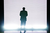 Presumptive Republican presidential nominee Donald Trump enters the stage to introduce his wife Melania on the first day of the Republican National...