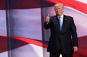 Presumptive Republican presidential nominee Donald Trump gives a thumbs up to the crowd after his wife Melania delivered a speech on the first day of...