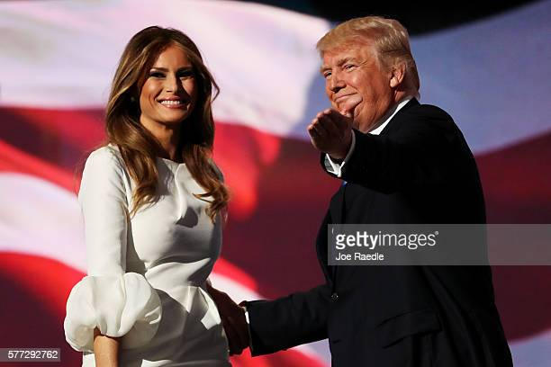Presumptive Republican presidential nominee Donald Trump introduces his wife Melania on the first day of the Republican National Convention on July...