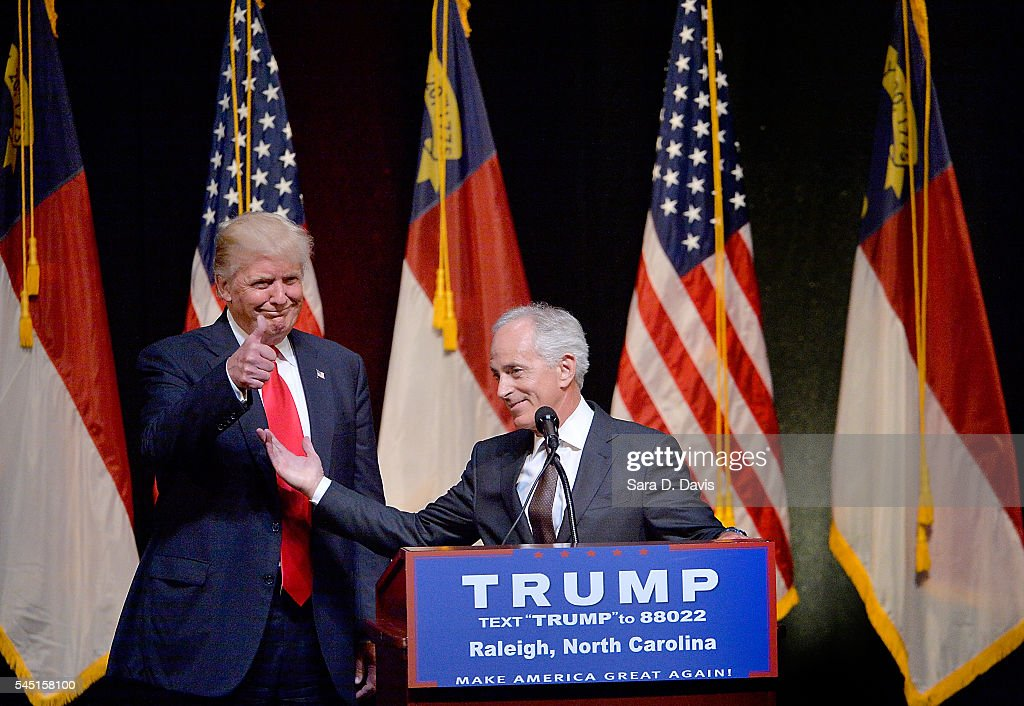 Presumptive Republican presidential nominee Donald Trump stands next to Sen. Bob Corker (R-TN) during a campaign event at the Duke Energy Center for the Performing Arts on July 5, 2016 in Raleigh, North Carolina. Earlier in the day Hillary Clinton campaigned in Charlotte, North Carolina with President Barack Obama.