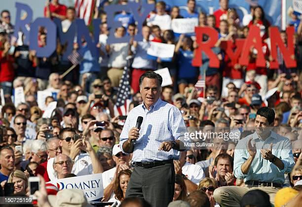 Presumptive Republican presidential nominee former Massachusetts Governor Mitt Romney and Vice Presidential running mate US Rep Paul Ryan speak to...