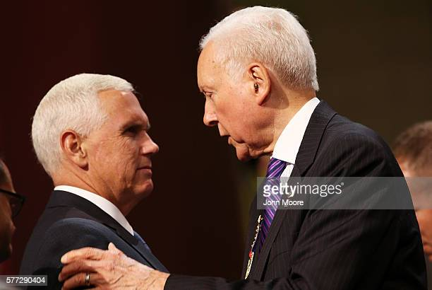 Presumptive Republican Vice Presidential candidate Indiana Gov Mike Pence and Senate Finance Committee Chairman Orrin Hatch talk on the first day of...