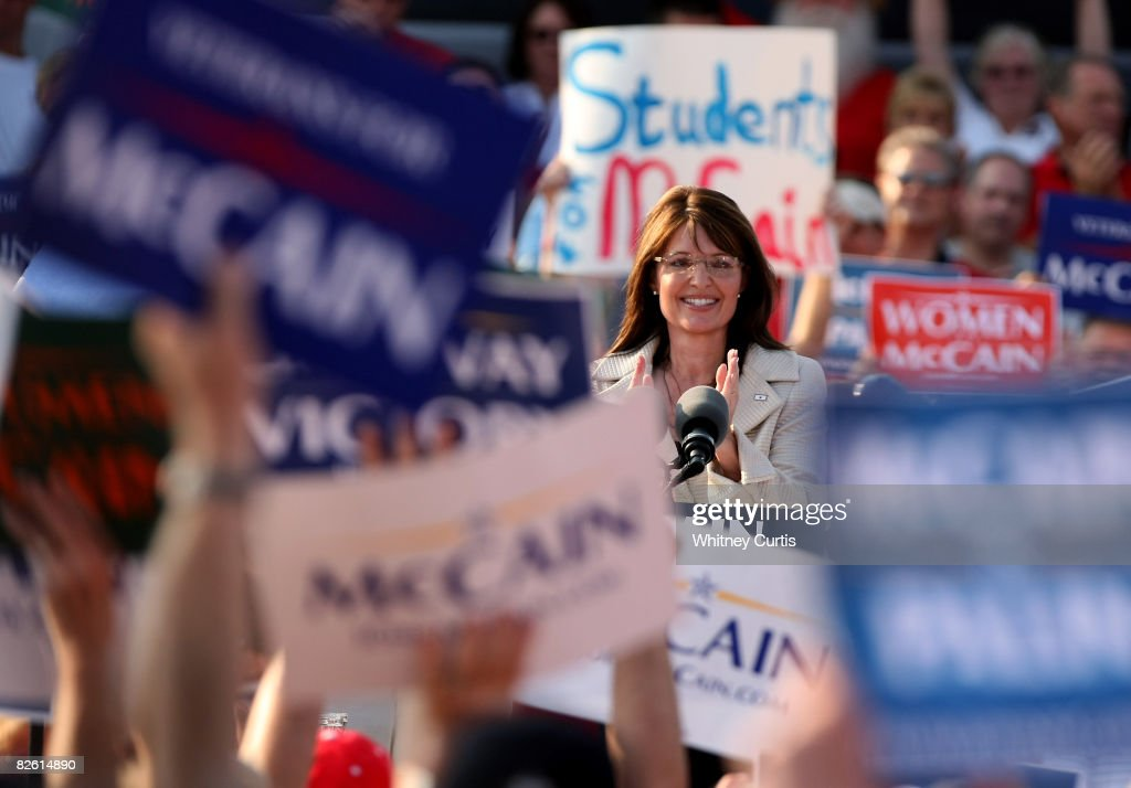 O'FALLON, MO - AUGUST 31: Presumptive Republican vice-presidential nominee Alaska Gov. Sarah Palin speaks to the crowd during a rally August 31, 2008 in O'Fallon, Missouri. The GOP has announced it will suspend most of Monday's Republican National Committee activities in Saint Paul, except for what is required by the rules that govern the RNC.