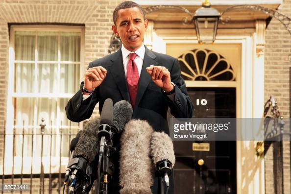 Presumptive US Democratic presidential candidate Senator Barack Obama speaks to the media outside Number 10 Downing Street after meeting with British...