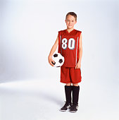 Pre-teen boy with soccer ball