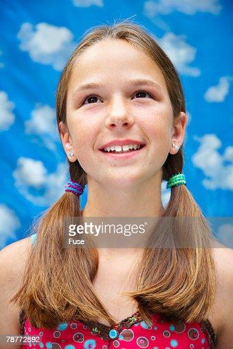 Young Pre Teen Girl Female Woman Torso Vertical Format: Preteen Girl Stock Photo