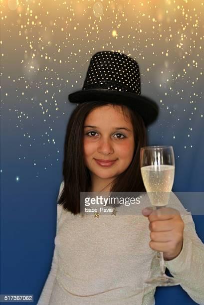 Preteen girl toasting