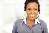 portrait of pretty african american call center operator
