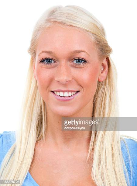 attraktive young blond female portrait on white