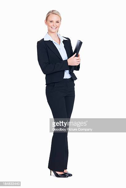 Pretty business woman with folder
