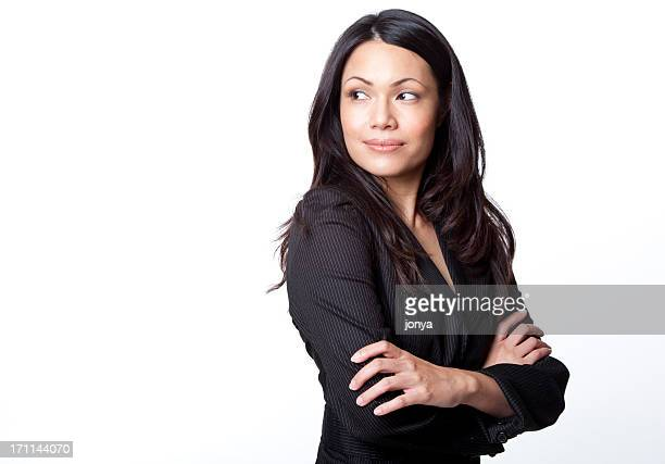 pretty businesswoman arms crossed - copy space