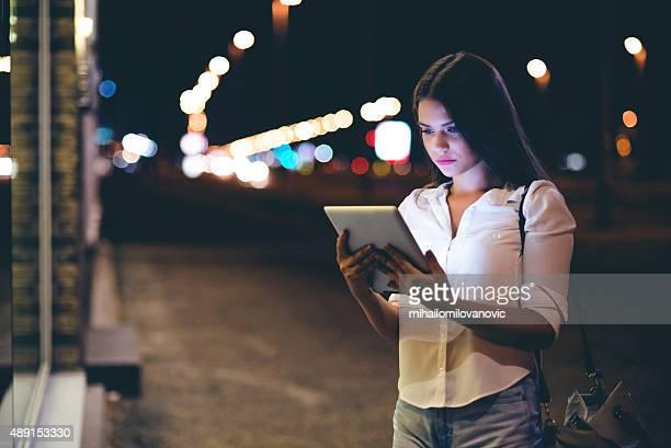 Pretty girl using tablet