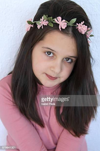 Pretty girl wearing flower crown