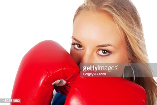 Pretty girl with boxing gloves : Stock Photo
