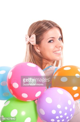 pretty girl with multicolor balloons : Stock Photo