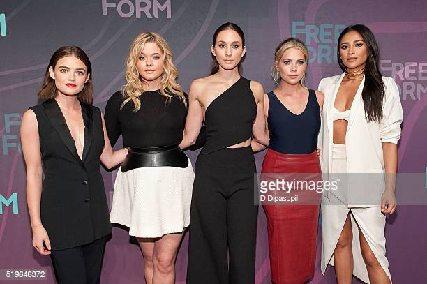 'Pretty Little Liars' cast members Lucy Hale Sasha Pieterse Troian Bellisario Ashley Benson and Shay Mitchell attend the 2016 ABC Freeform Upfront at...