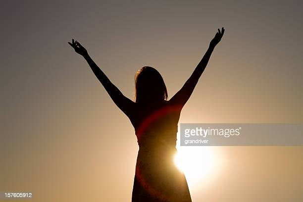 Pretty Native American Girl Silhouette Arms Raised
