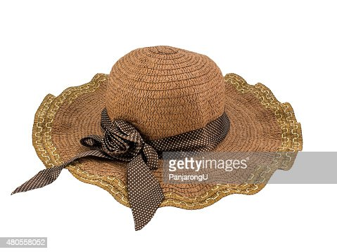 Pretty straw hat isolated on white background. Clipping path. : Stock Photo