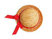 Pretty straw hat on white background.
