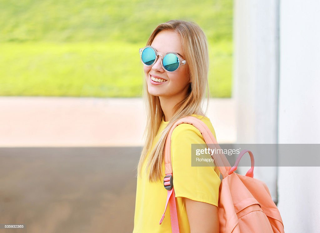 Pretty stylish woman in sunglasses outdoors : Stock Photo