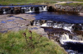 Pretty waterfall rapids Trout Beck stream River Tees Upper Teesdale Cumbria England