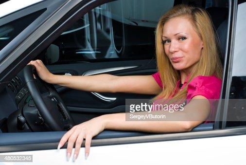 Pretty woman - driver : Stockfoto