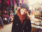Pretty woman in bazaar