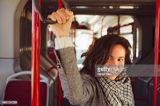 Pretty woman on bus