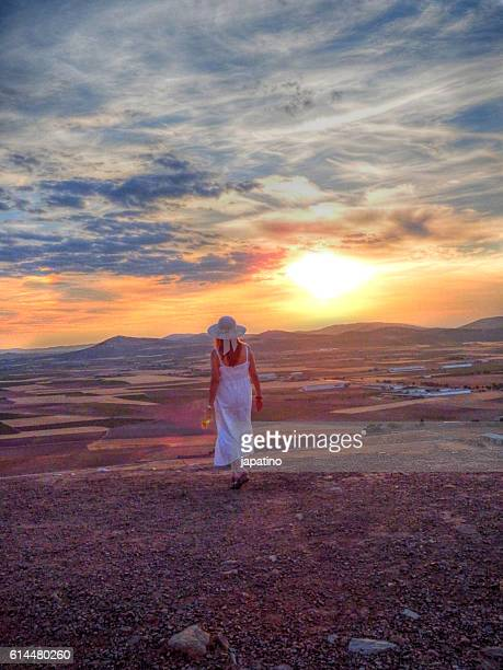 Pretty woman with a rose looking  at sunset