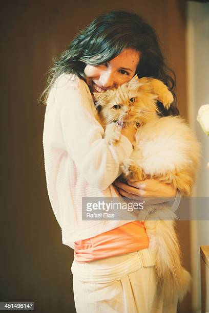 Pretty woman with beautiful cat