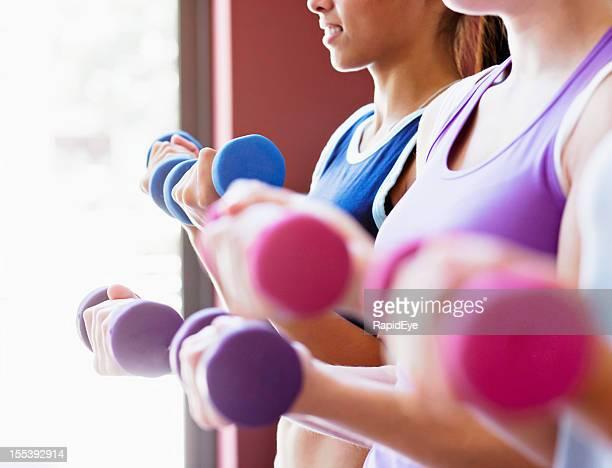 Hübsche Pastellfarben Frauen heben Gewichte in alle weiblichen Fitnessstudio