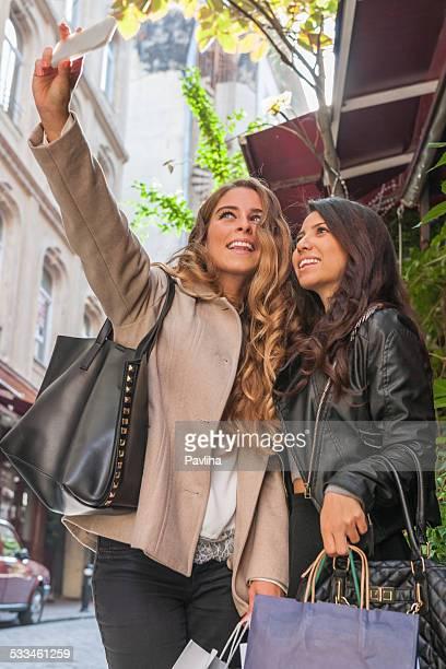 Pretty Women Taking Selfie Mobile Device, Beyoglu, Istanbul, Turkey