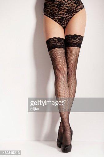 Pretty Womens Legs With Elegant Black Stockings And High Heels ...