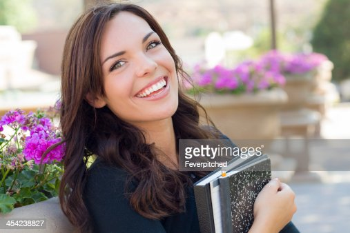 Pretty Young Female Student Portrait on Campus : Stock Photo
