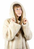 Pretty young girl in fur jacket