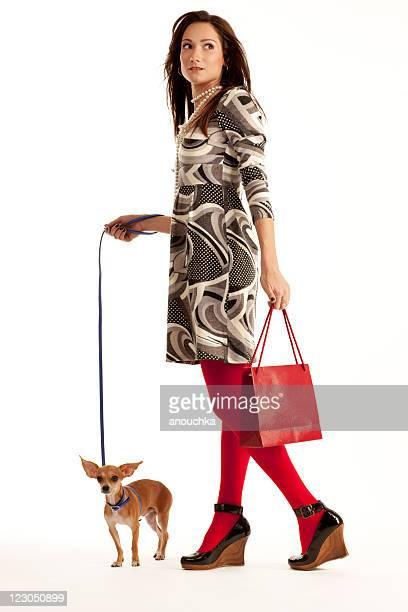 Bella giovane donna suo piccolo Chihuahua e Shopping Bag