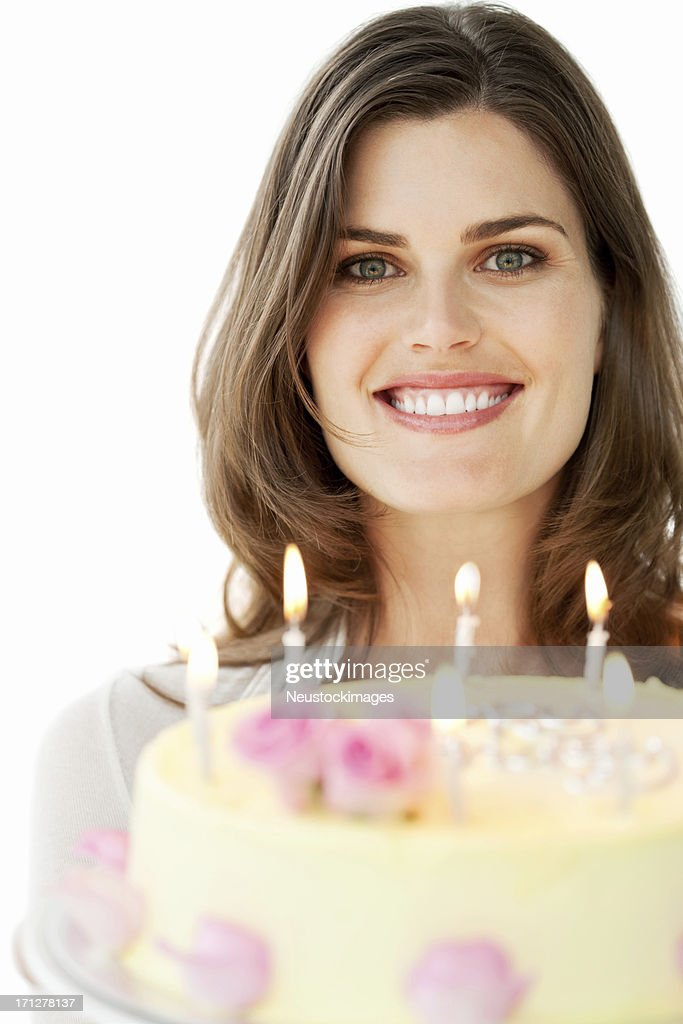 Pretty Young Woman Holding Birthday Cake - Isolated : Stock Photo