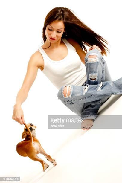Hübsche, junge Frau spielt mit ihren wunderschönen chihuahua