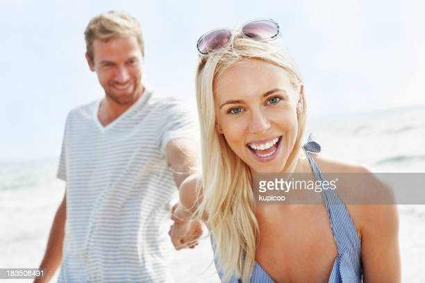Pretty, young woman with boyfriend on a vacation