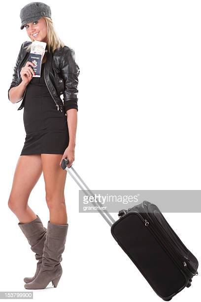 Pretty Young Woman with Rolling Suitcase