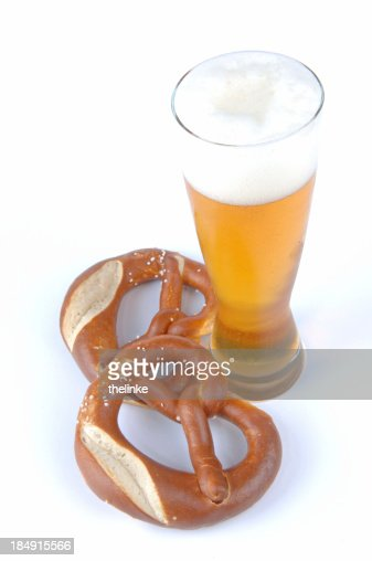 Pretzel And Wheat Beer On The Oktoberfest In Munich Stock ...