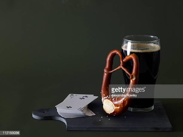 Pretzel, beer and cards