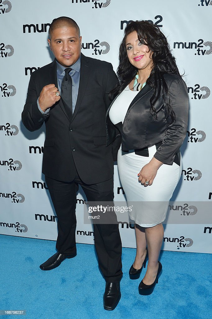 MUN2 - EVENTS -- Pre-Upfront Press Conference -- Pictured: Former professional boxer Fernando Vargas (L) and Martha Vargas--